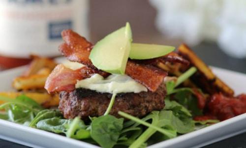 Chorizo Burgers with Pan Fried Sweet Potato Fries