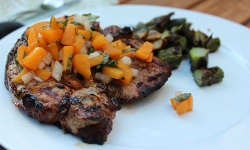 Mustard Grilled Pork Chops with Basil-Apricot Relish