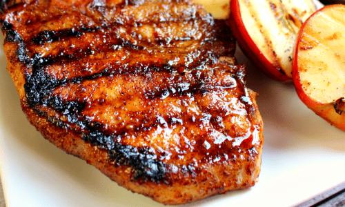 Grilled Apple Cider Glazed Pork Chops