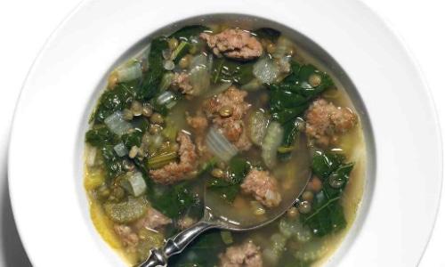 Sausage Lentil and Kale Soup