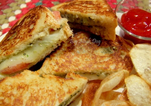 Basil and Mozzarella Grilled Cheese