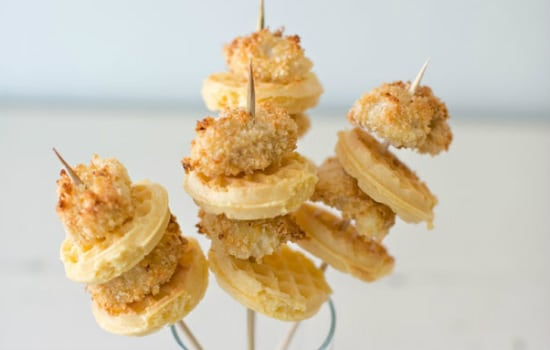 Chicken and Waffles on a Stick Appetizer