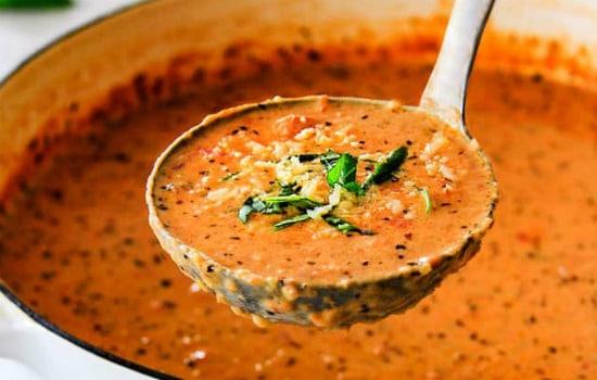 Creamy Tomato Basil Parmesan Soup Recipe