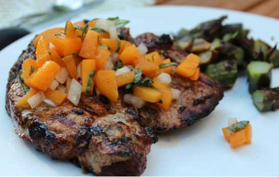 Paleo Mustard Grilled Pork Chops with Basil-Apricot Relish Recipe