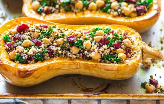 Vegan Stuffed Butternut Squash with Quinoa Cranberries and Kale Recipe