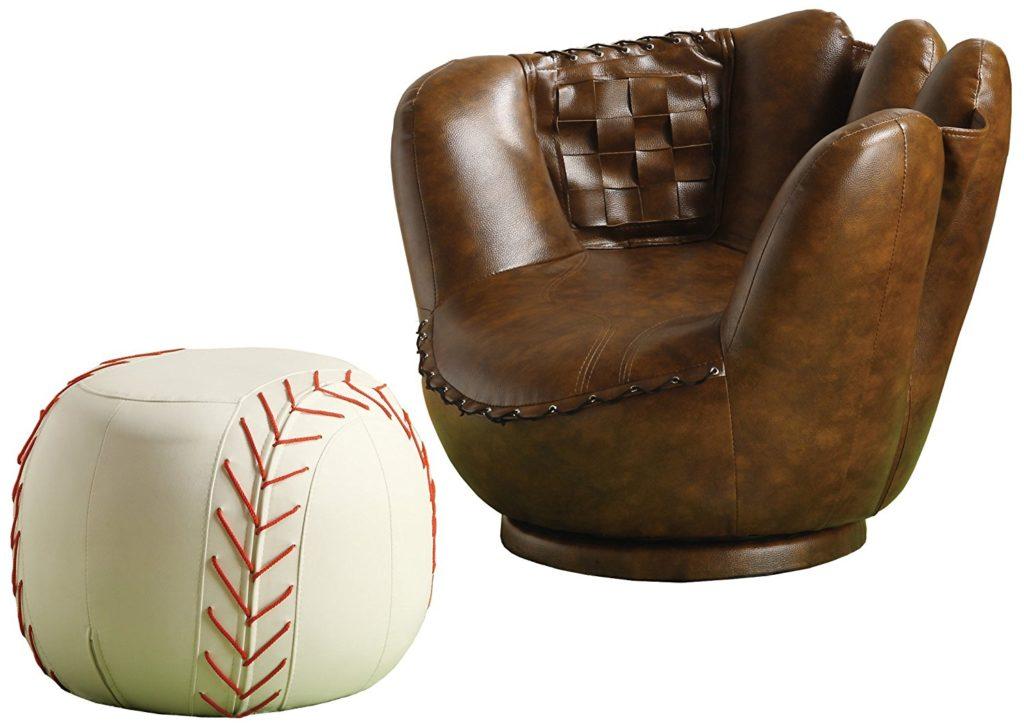 Baseball Glove Chair and Ottoman