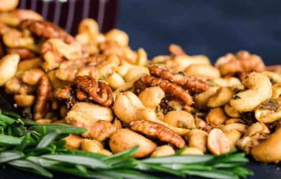 Vegan Sweet and Spicy Rosemary Roasted Nuts Recipe