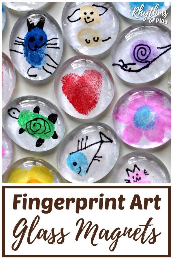 Fingerprint Art Glass Magnets Craft