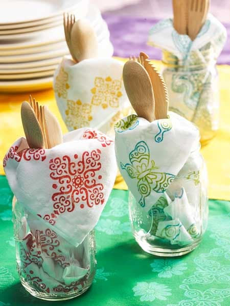 Stamped Fabric Napkins Craft